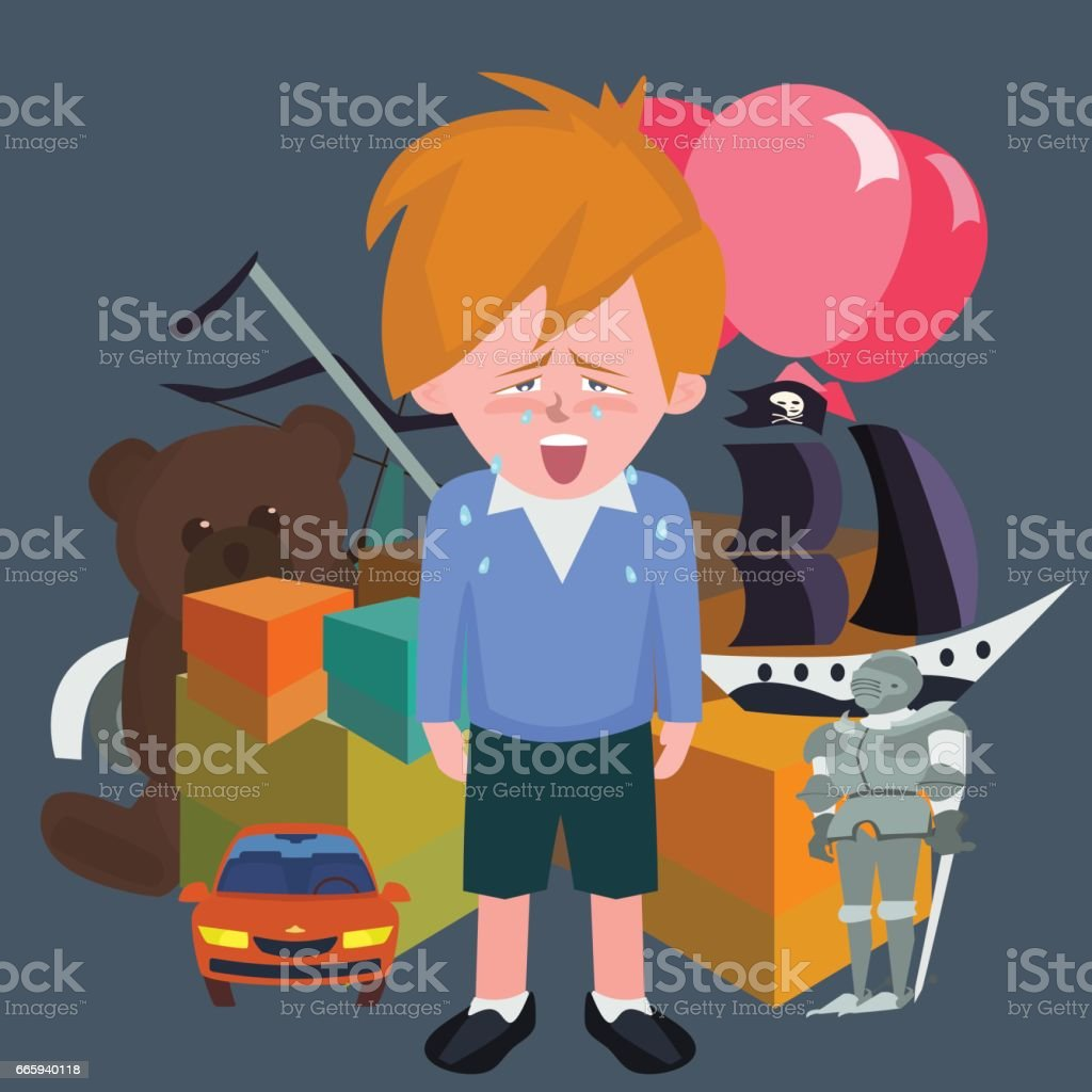 crying boy against pile of children's gifts vector cartoon crying boy against pile of childrens gifts vector cartoon - immagini vettoriali stock e altre immagini di abbondanza royalty-free
