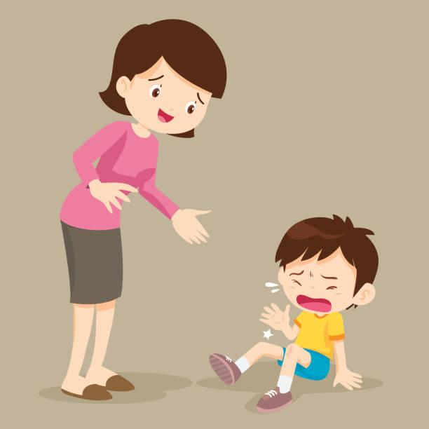 泣いて少年と彼女のママ - 泣く点のイラスト素材/クリップアート素材/マンガ素材/アイコン素材