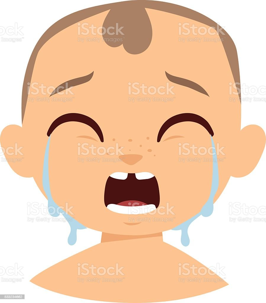Crying boy face vector illustration vector art illustration