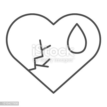 istock Crying broken heart thin line icon. Cracked love shape with tear drop symbol, outline style pictogram on white background. Relationship sign for mobile concept and web design. Vector graphics. 1210427535