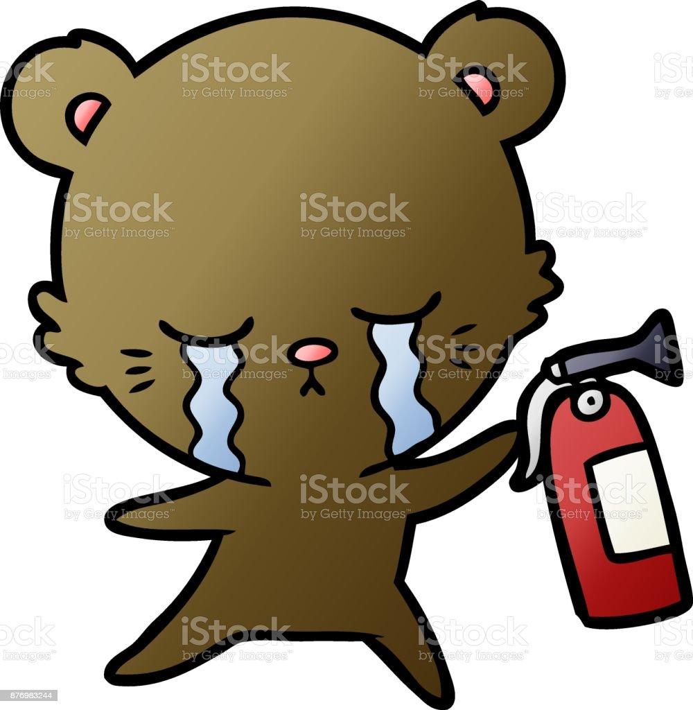 Vetores De Choro Dos Desenhos Animados Urso Com Extintor De Incendio E Mais Imagens De Animal Istock