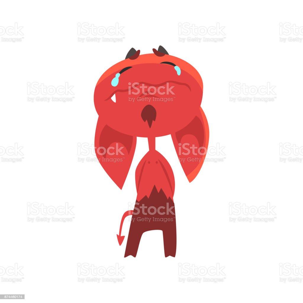 大きな垂れた耳角尾白で隔離と泣いている漫画の悪魔赤鬼の顔に涙を浮かべ