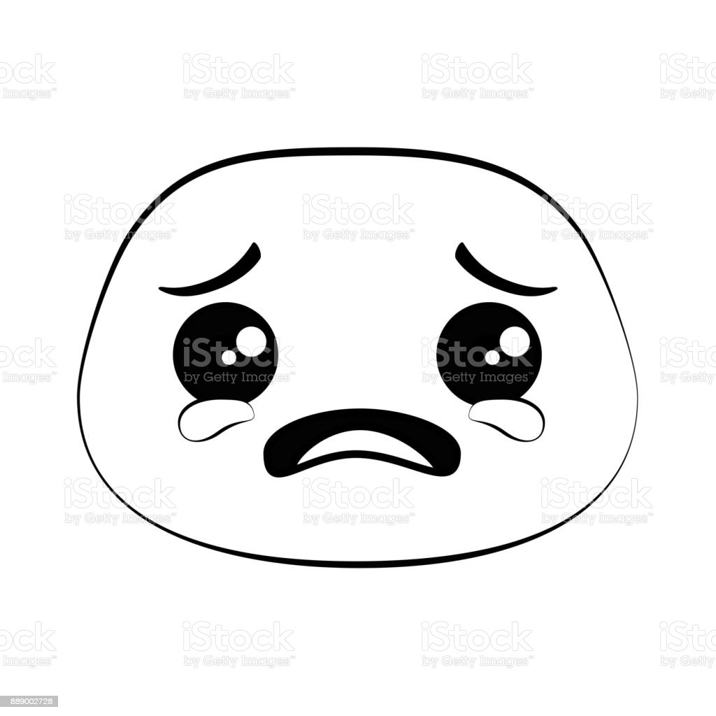 crying emoji face icon vector art illustration
