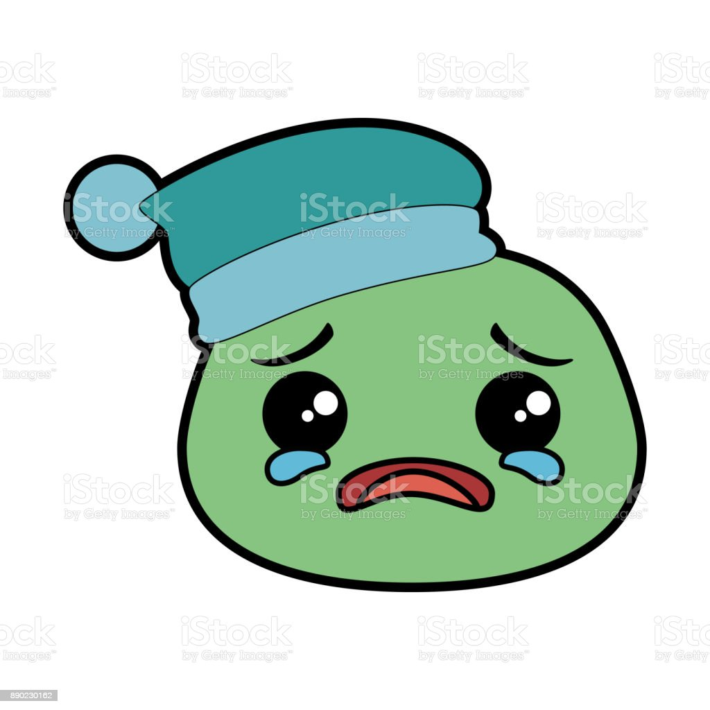 crying emoji face with sleeping hat vector art illustration