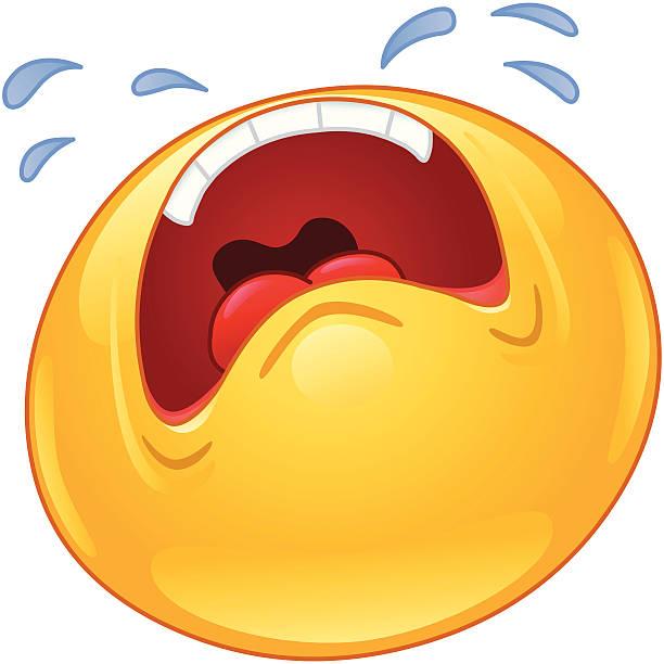 Crying Emoticon Vector Art Illustration