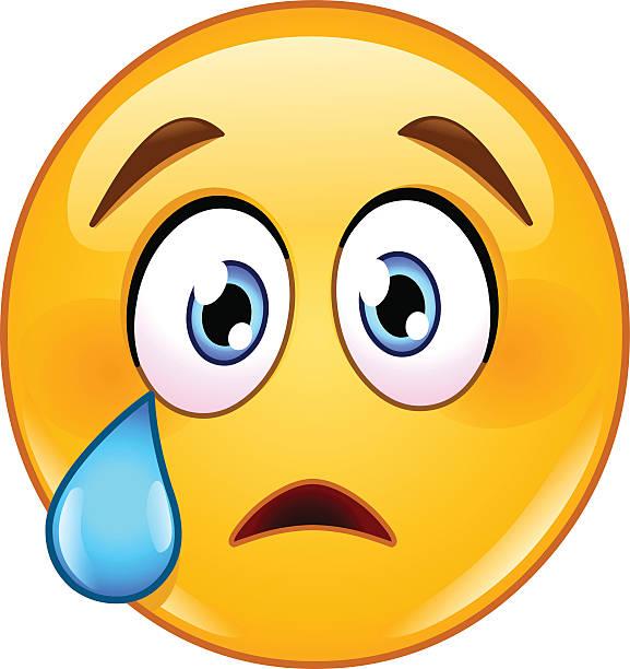 Crying Face Emoticon Vector Art Illustration