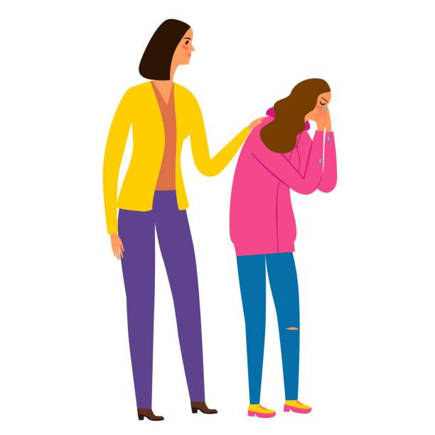 bildbanksillustrationer, clip art samt tecknat material och ikoner med gråtande flicka tonåring och mor stöder henne. - parent talking to child