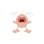 Cartoon sitting and crying little baby with mouth wide open. Vector illustration.