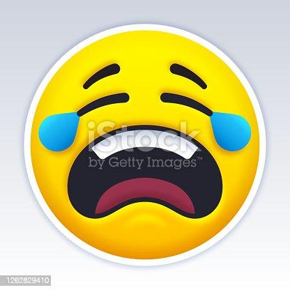 Sad crying person yellow emoji emoticon face symbol or icon.