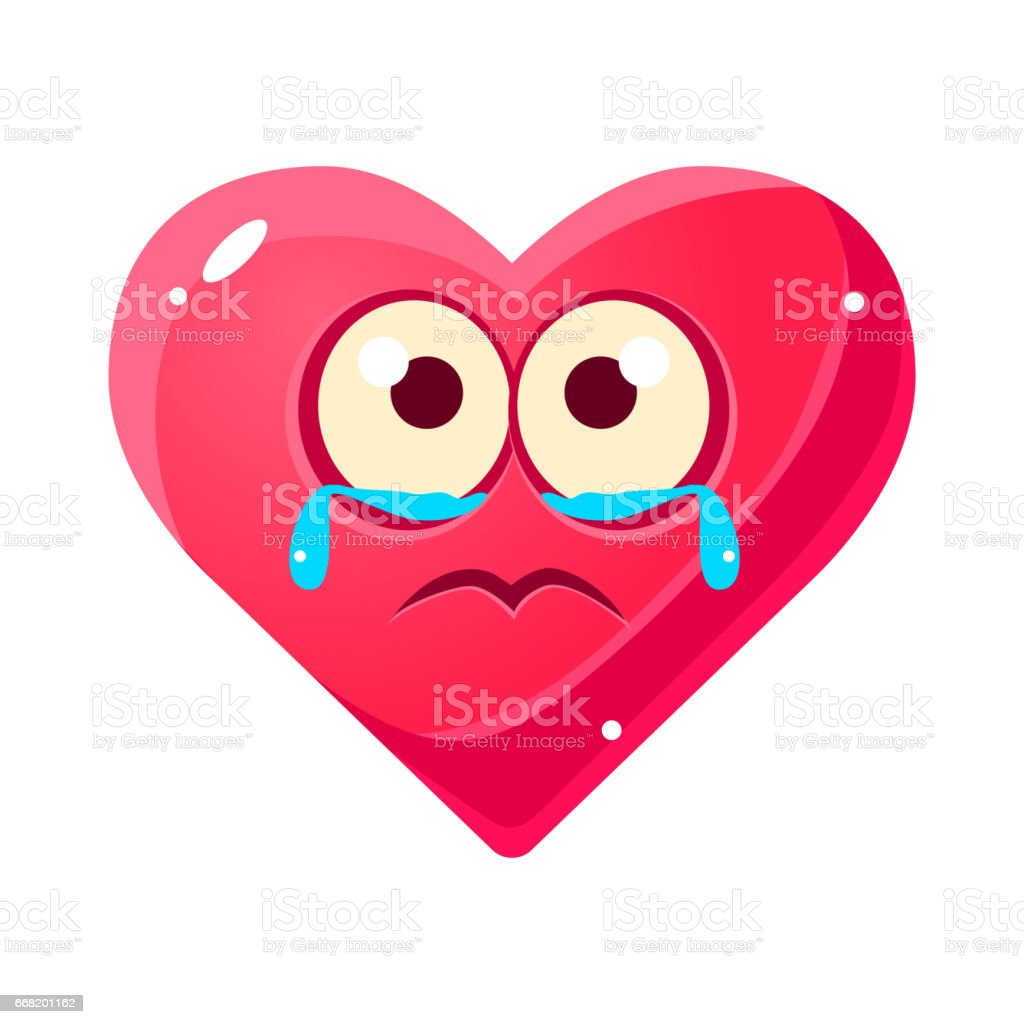 Vetores De Choro Triste Emoji Coração Rosa Emocional