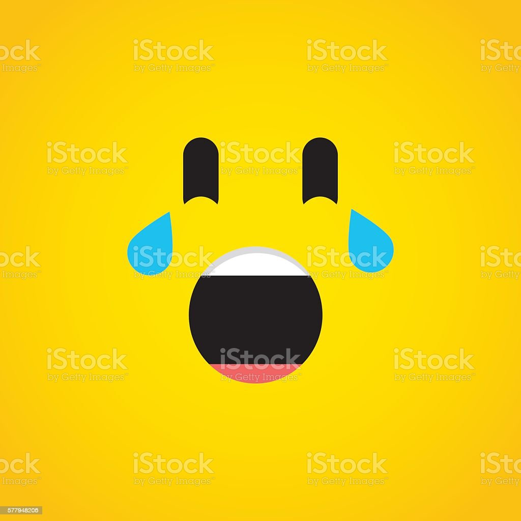 Crying with laughter emoji icon vector art illustration