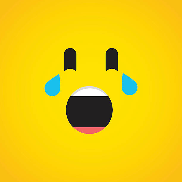 crying with laughter emoji icon - tears of joy emoji stock illustrations