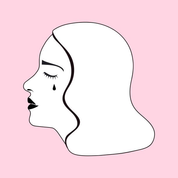 illustrazioni stock, clip art, cartoni animati e icone di tendenza di crying woman profile simple drawing - violenza donne