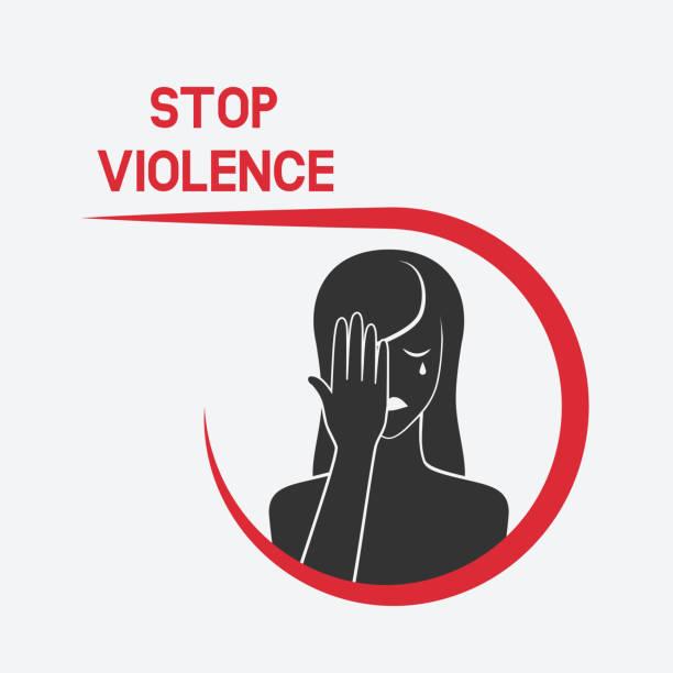 illustrazioni stock, clip art, cartoni animati e icone di tendenza di crying woman. stop violence concept - violenza donne