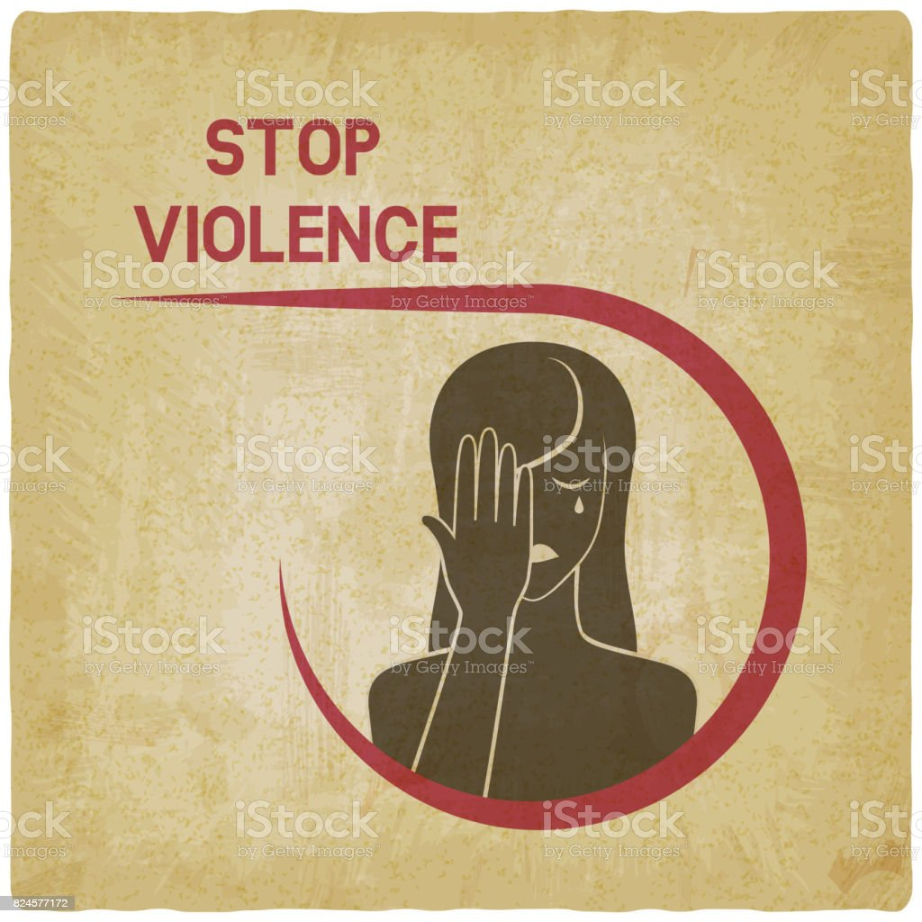 crying woman. stop violence concept vector art illustration
