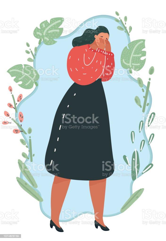 両手で彼女の顔を閉じた人泣いている女性 イラストレーションのベクターアート素材や画像を多数ご用意 Istock