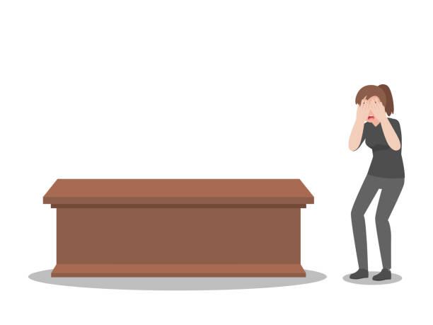 stockillustraties, clipart, cartoons en iconen met schreeuwende vrouw met doodskist bij begrafenis in kerk - funeral crying