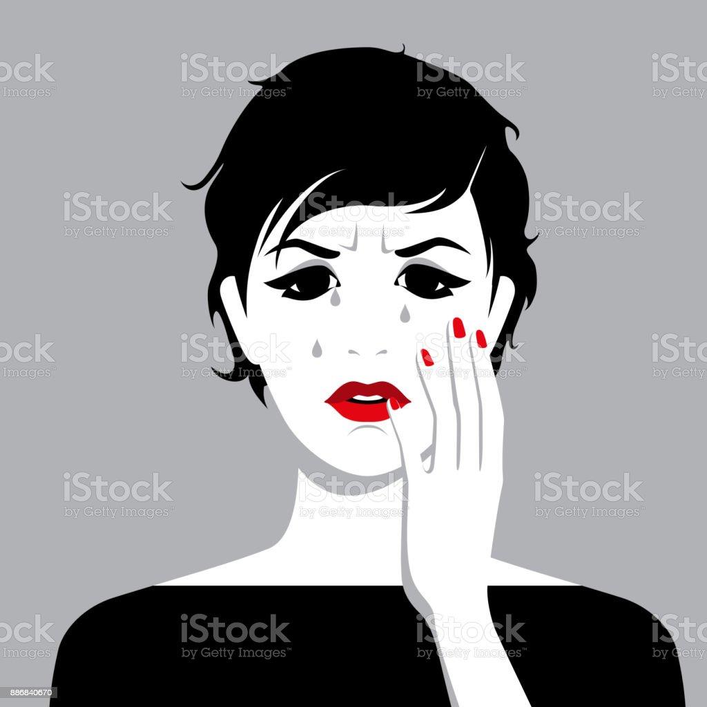 Weinende Frau Mit Tränen Im Gesicht Stock Vektor Art und mehr Bilder ...