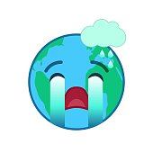 Crying world globe isolated emoticon