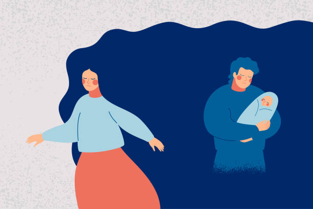 Crying young woman suffers from postpartum depression. Crying young woman suffers from postpartum depression. Sad new mother leaves her child with father as a symptom of baby blues. Psychological and medical vector illustration unhappy couple stock illustrations