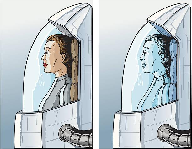 illustrazioni stock, clip art, cartoni animati e icone di tendenza di criogenico ragazza - criobiologia