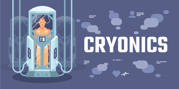 cryonics capsules or containers - hibernation stock illustrations, clip art, cartoons, & icons
