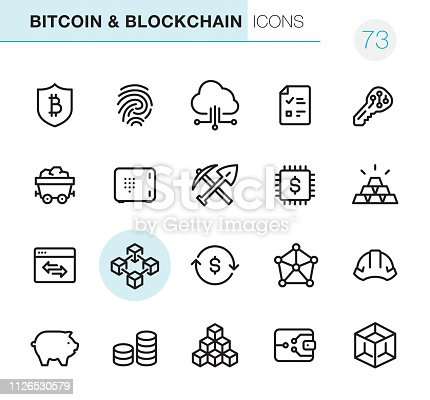 20 Cryptocurrency & Blockchain icons - Outline Style - Black line - Pixel Perfect icons / Set #73 - Icons are designed in 48x48pх square, outline stroke 2px.  First row of outline icons contains:  Bitcoin Safety, Fingerprint, Cloud Computing, Report, Key;  Second row contains:  Coal Mine, Safe, Mining, Digital Currency, Ingot;  Third row contains:  Marketing, Blockchain, Exchange Rate, Network Connection, Cryptocurrency Mining;   Fourth row contains:  Piggy Bank, Savings, Block Shape, Bitcoin Wallet, Three Dimensional Block.  Complete Primico collection - https://www.istockphoto.com/collaboration/boards/NQPVdXl6m0W6Zy5mWYkSyw