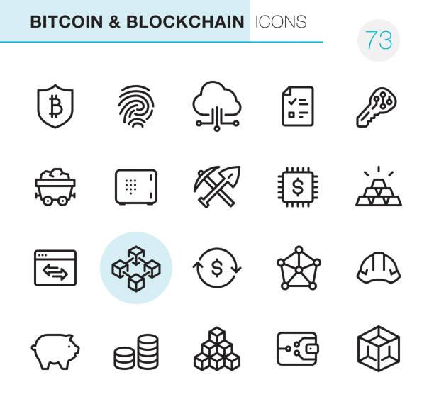stockillustraties, clipart, cartoons en iconen met crypto en blockchain - pixel perfect pictogrammen - blockchain