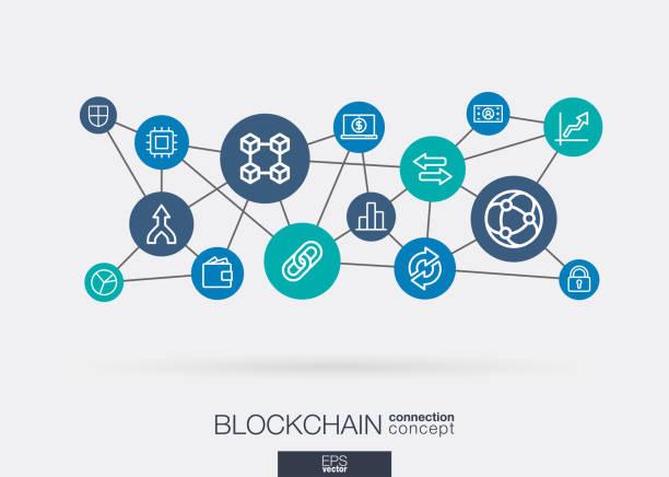 stockillustraties, clipart, cartoons en iconen met crypto valuta en blockchain geïntegreerd dunne lijn web iconen. digitale neuraal netwerk communiceren concept. - blockchain