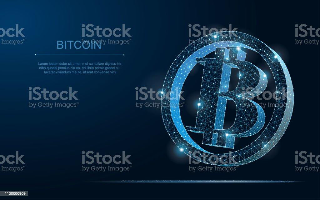 Crypto Currency Bitcoin Blockchain Polygonal 3d Zvector