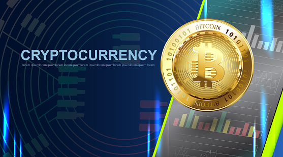 Crypto currency Bitcoin. Blue Background Digital Web Money Technology Banner With Copy Space. Vector Illustration