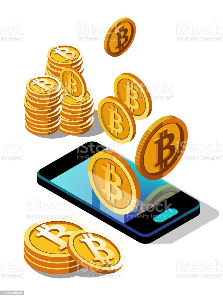 crypto currency, bitcoin. Purchase online via smartphone, income through the Internet vector art illustration