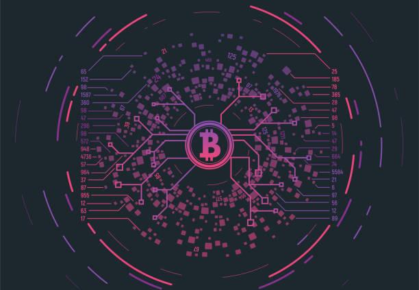stockillustraties, clipart, cartoons en iconen met crypto valuta concept - bitcoin