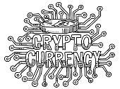 Crypto Currency Text Concept Drawing
