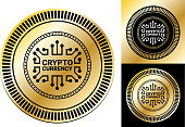 Crypto Currency.This image features the main icon on a round sticker design. The image is a  vector illustration. The colors are black, white and golden gradient. It's placed against a white background. There are two more alternative designs of the seal on the right of the image. This royalty free vector illustration is easy to modify.