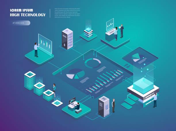 ilustraciones, imágenes clip art, dibujos animados e iconos de stock de inicio crypto. mercado de dinero digital. - proyección isométrica