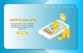 Crypto wallets landing page website template. Vector isometric smartphone with bitcoins, shield security symbol. Online crypto wallets concept.