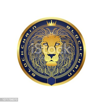 Cryptocurrency and bitcoin lion logo. Digital blockchain design. Technology vector design of coin.