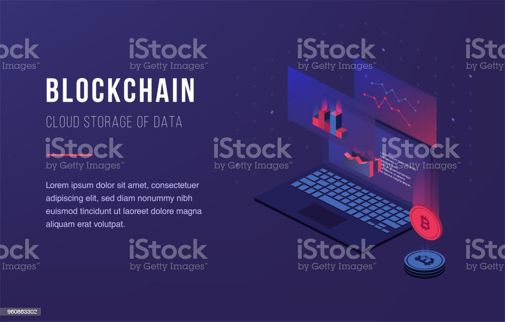 Cryptocurrency and blockchain. Bitcoin mining farm vector art illustration