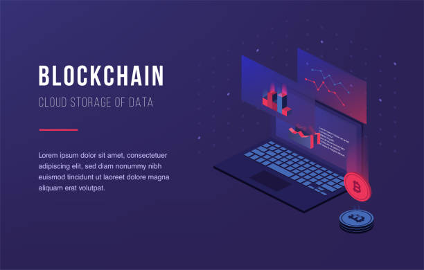Cryptocurrency and blockchain. Bitcoin mining farm Cryptocurrency and blockchain. Bitcoin mining farm. Creating digital currency. Concept for landing page, web design, banner and presentation. 3d isometric flat design. Vector illustration initial coin offering stock illustrations