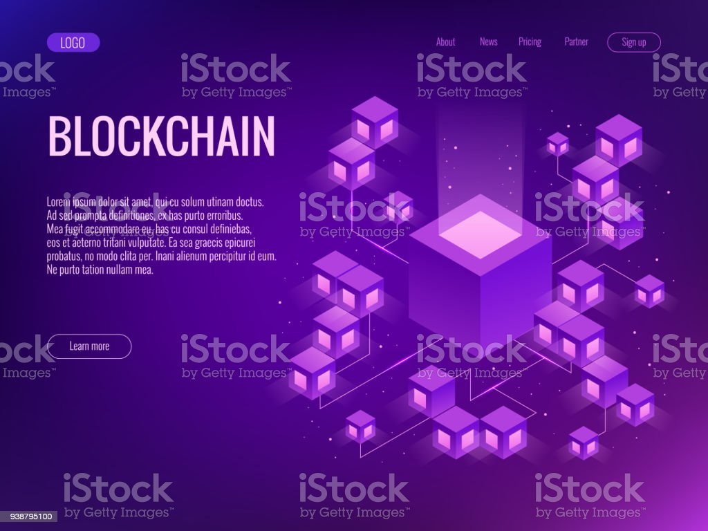 Cryptocurrency and Blockchain concept. Farm for mining bitcoins vector art illustration