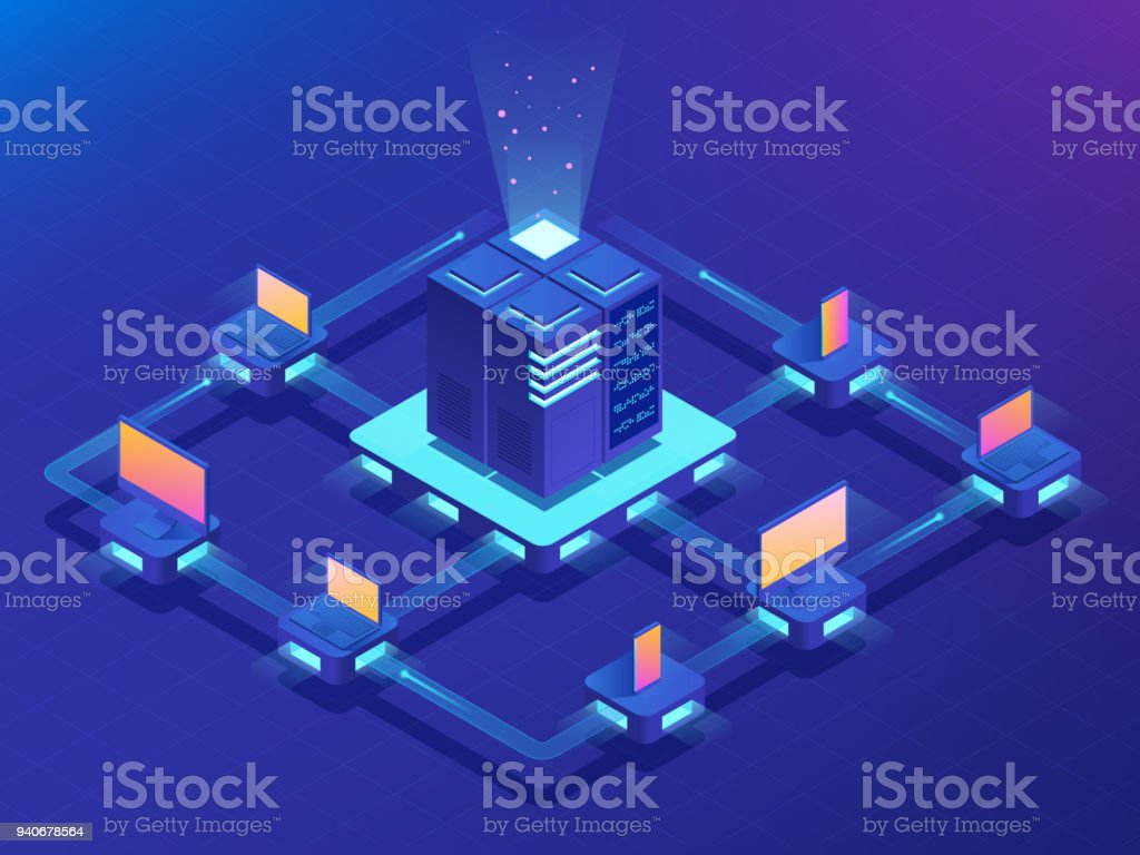 Cryptocurrency and Blockchain concept. Farm for mining bitcoins. Isometric vector illustration vector art illustration