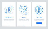 istock Cryptocurrency and Blockchain concept onboarding app screens. Modern and simplified vector illustration walkthrough screens template for mobile apps. 908496546