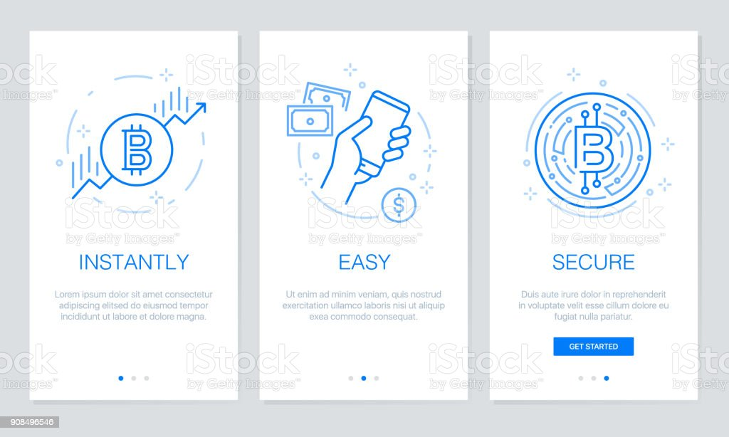 Cryptocurrency and Blockchain concept onboarding app screens. Modern and simplified vector illustration walkthrough screens template for mobile apps. vector art illustration