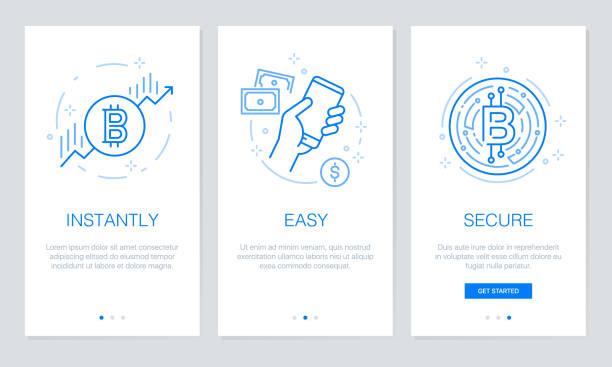 stockillustraties, clipart, cartoons en iconen met cryptocurrency en blockchain concept doordat app schermen. moderne en vereenvoudigde vector illustratie walkthrough schermen sjabloon voor mobiele apps. - bitcoin
