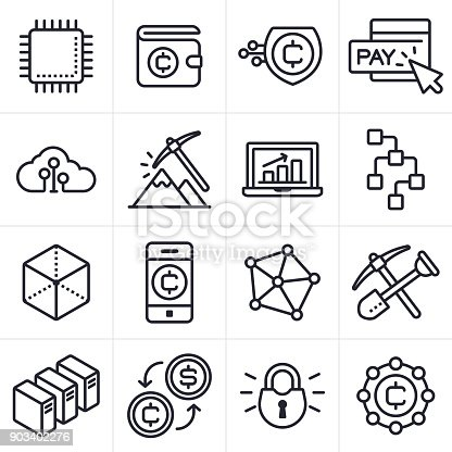 Cryptocurrency and block chain icons and symbols collection.