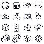 Cryptocurrency and Blockchain Icons and Symbols