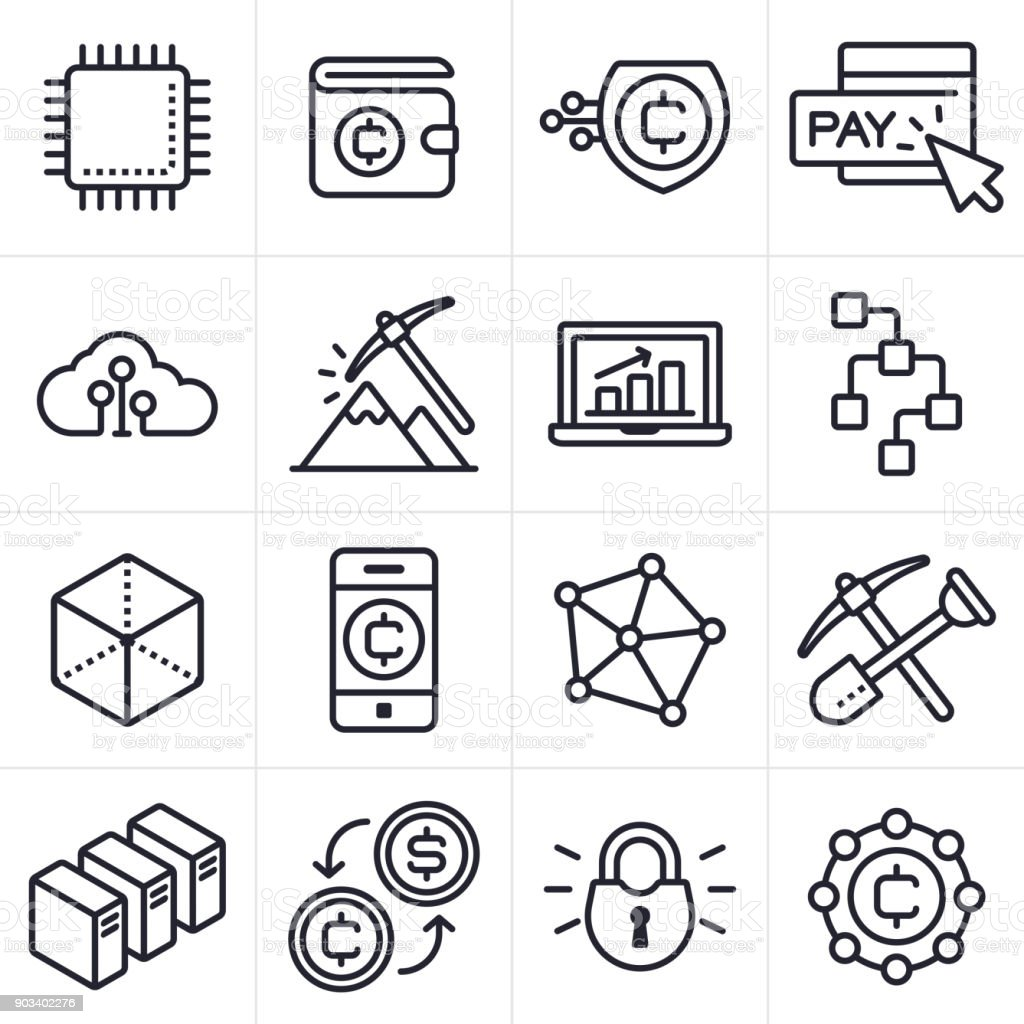 Cryptocurrency and Blockchain Icons and Symbols vector art illustration