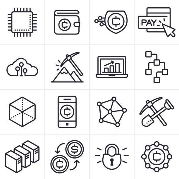 bildbanksillustrationer, clip art samt tecknat material och ikoner med kryptovaluta och blockchain ikoner och symboler - mining