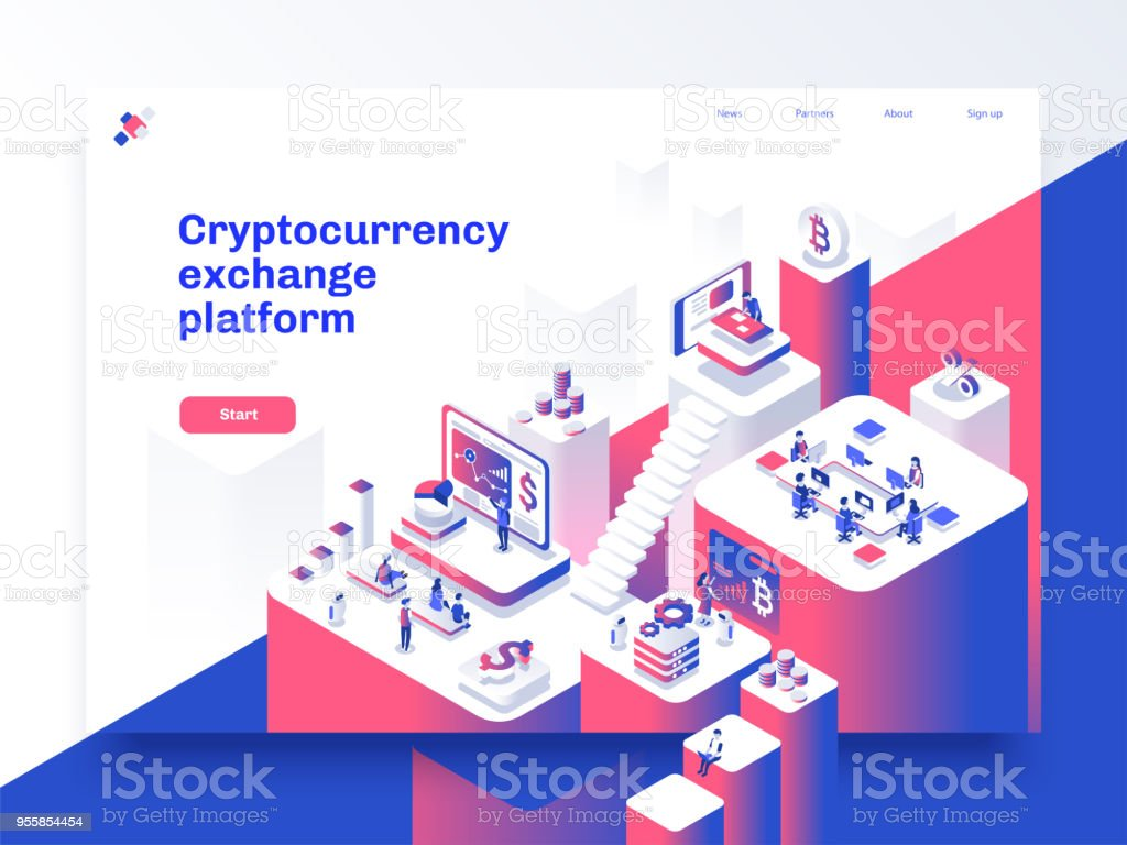 Cryptocurrency and blockchain isometric composition with people, analysts and managers working on crypto start up. Landing page template. Vector isometric illustration. vector art illustration
